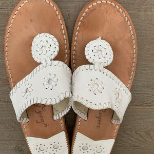 JACK ROGERS Classic White Woven Leather Sandal